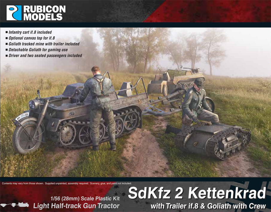 SdKfz 2 Kettenkrad with Trailer if.8 & Goliath with Crew- Buy 2 Get 1 Free Bundle Special