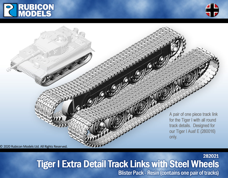 Tiger I Extra Detail Track Link with Steel Wheels- Resin