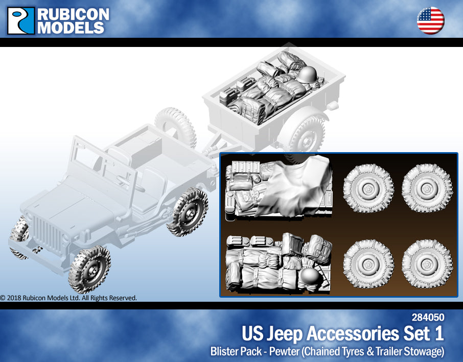 US Jeep Accessories Set 1: Chained Tires & Trailer Stowage- Pewter