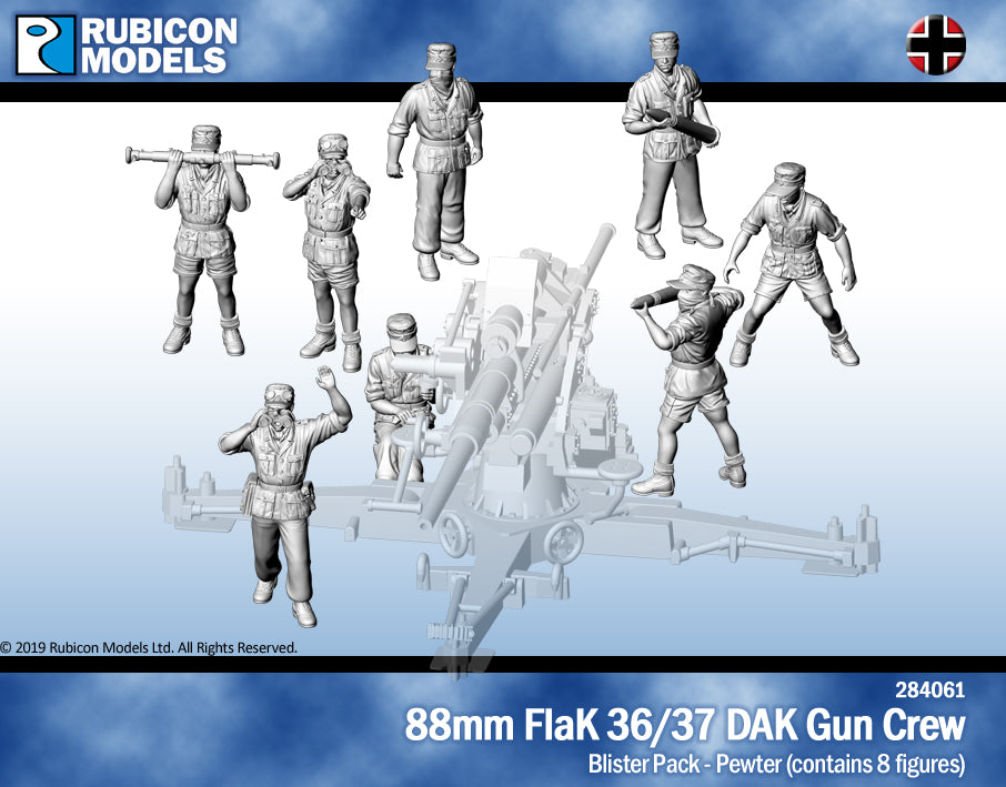 88mm FlaK 36/37 DAK Gun Crew- Pewter