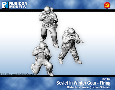 Soviet Infantry in Winter Gear Firing- Pewter