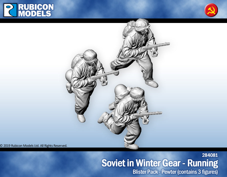 Soviet Infantry in Winter Gear Running- Pewter