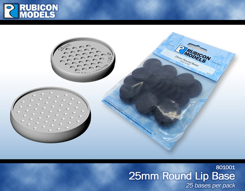 25mm Round Bases- 1 Package of 25 Bases
