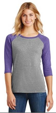Wickless Wolf Pack - District Made® Ladies Perfect Tri™ 3/4-Sleeve Raglan