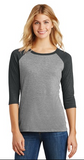 The Wickless Sparklers - District Made® Ladies Perfect Tri™ 3/4-Sleeve Raglan. DM-136L