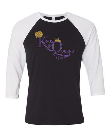 King and Queens of Wax- Bella + Canvas - Unisex Three-Quarter Sleeve Baseball T-Shirt