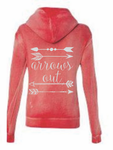 Arrows Out --- Women's Angel Fleece Sanded Full-Zip Hooded Sweatshirt