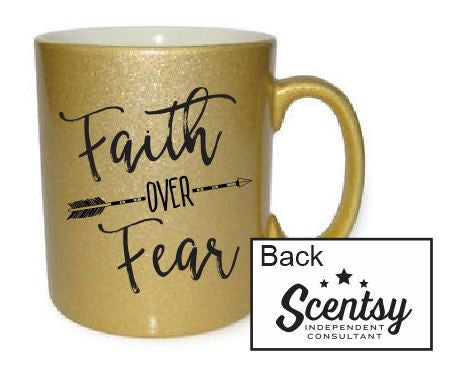 Faith over Fear - Gold Glitter 11 oz. mug