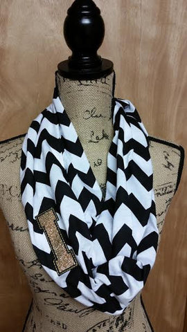 Customizable!! Iowa Chevron Jersey Knit Infinity Scarf! Sparkly Glittery Team Spirit Monogrammed !