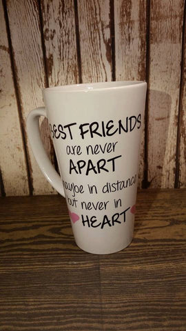Best Friends Are Never Far Apart Ceramic Coffee Cup Mug Latte Mug! BFF Mug!