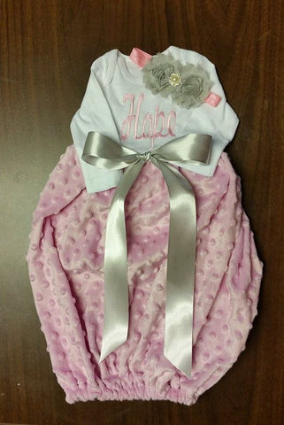 Minky Dot infant gown and headband