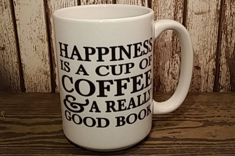 READY TO SHIP! Happiness is a cup of coffee & a good book coffee mug! Christmas Gift!