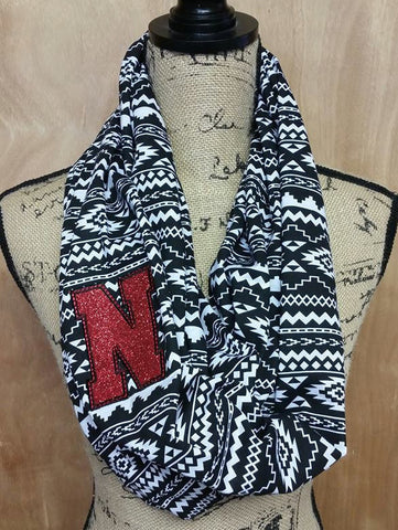 READY TO SHIP! Glittery Nebraska Team Spirit Monogrammed Aztec Pattern Jersey Knit Infinity Scarf