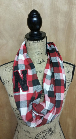 Glittery Nebraska Team Spirit Plaid Jersey Knit Infinity Scarf