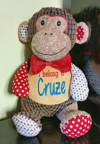 Personalized Harlequin monkey Cubbies, personalized stuffed animal, birth stats, monogram, name