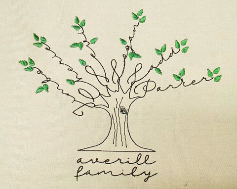 Family Tree Wall Hanging Hand Embroidered Look - Machine Embroidered CUSTOM