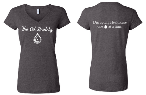 The Oil Healers - Women's FITTED Short Sleeve Jersey V-Neck Tee