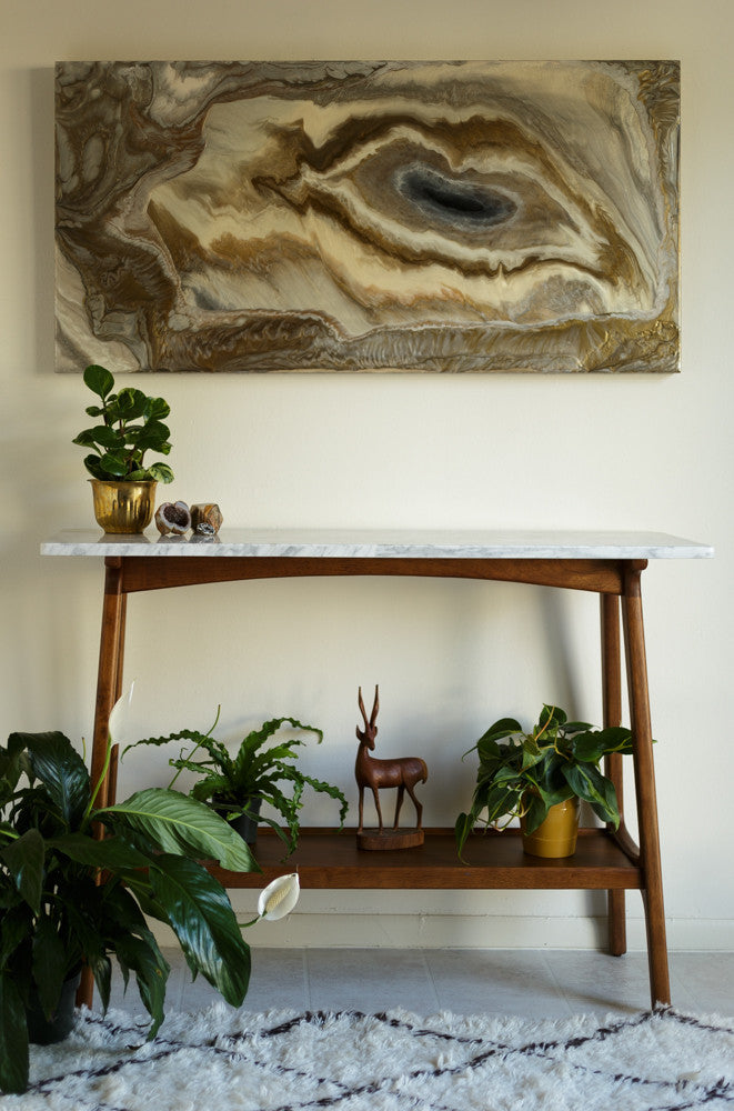 "Bronze Agate Painting by Kirsten Gilmore, 24""x48"""