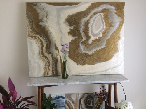 Bronze Labyrinth Agate, an original, ready-to-ship, abstract painting on wood