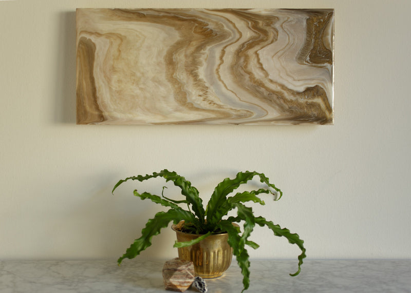Autumn Gold Agate, an original, ready to ship, abstract acrylic painting on wood panel