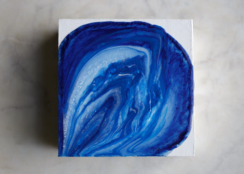 Lapis Blue Agate, an original, ready-to-ship  painting on wood panel