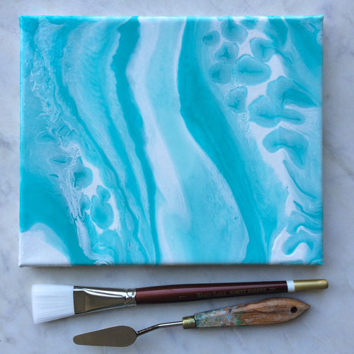 Teal Geode I, an original, ready-to-ship, canvas painting