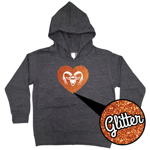 YST254 ROCKFORD RAM YOUTH HEART GLITTER HOOD