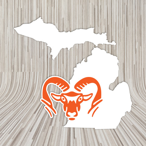 ROCKFORD MICHIGAN RAM HEAD VINYL DECAL