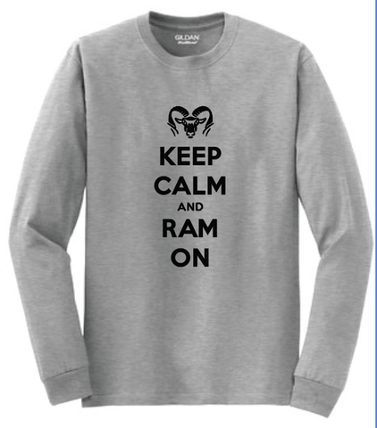 ROCKFORD RAMS KEEP CALM RAM ON LONG SLEEVE - GREY