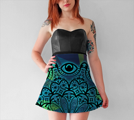 Blue Mandala Eyes Skirt - Mischievous Design