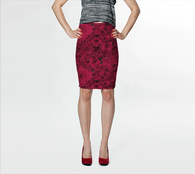 Painting the Roses Red Pencil Skirt - Mischievous Design