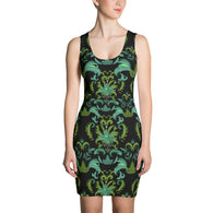 Cannabis Damask Shift Dress