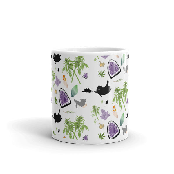 Cats, Crystals, & Cannabis Pattern Mug