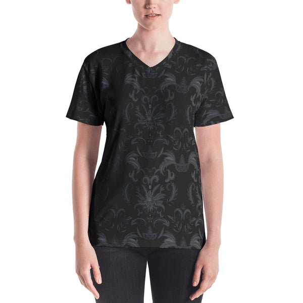 Black Cannabis Damask Women's V-neck Tee