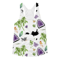 Cats, Crystals, & Cannabis Women's Racerback Tank