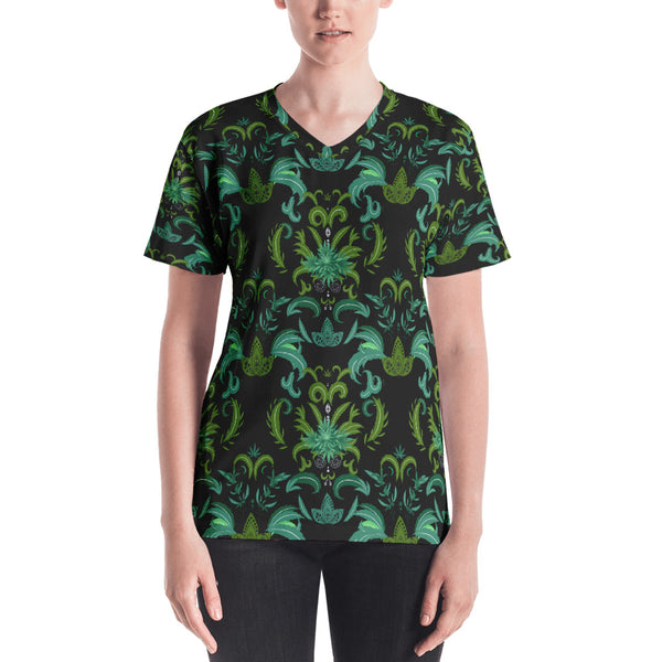 Cannabis Damask Women's V-neck Tee