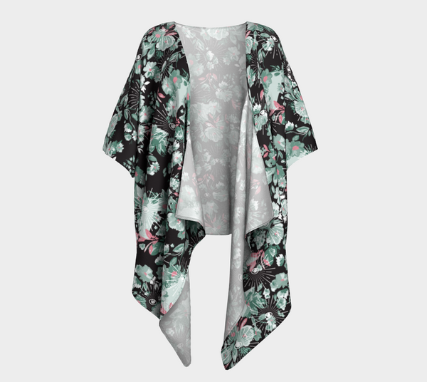 Dark Floral Mysteries Draped Kimono - Mischievous Design