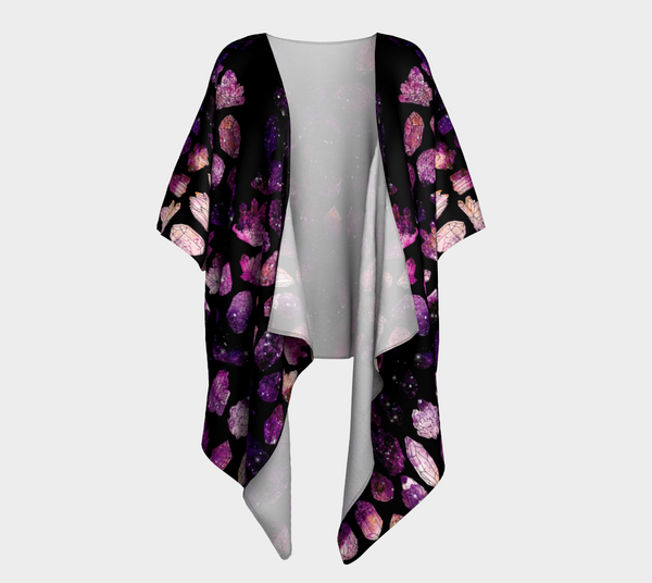 Crystals & Galaxies Ecopoly Draped Kimono
