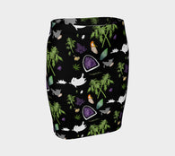 Cats, Crystals, & Cannabis Fitted Skirt