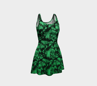 Greenery Floral Fantasy Ecopoly Flare Dress