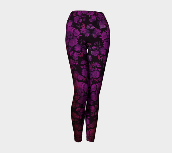 Deep Dark Floral Mysteries Yoga-Legs - Mischievous Design