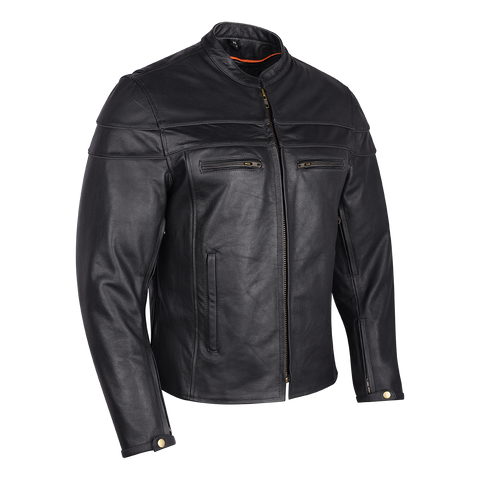 VL531 Vance Leather Men's Racer Jacket with Zippered Vents
