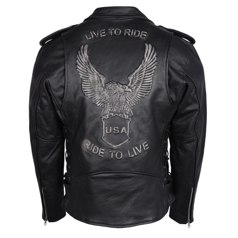 HMM525 Eagle Embossed Classic Biker Jacket