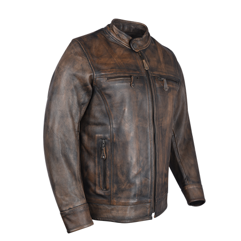 HMM546DB High Mileage Men's Distressed Brown Leather Scooter Jacket