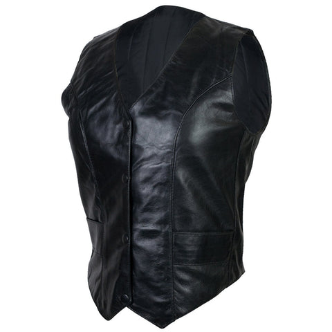 VL1017 Ladies Lambskin Plain Side Vest