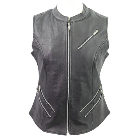 VL1028 Vance Leather Ladies Premium Leather Zipper Vest