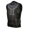 Women's Classic Leather Motorcycle Vest with Reflective Wings