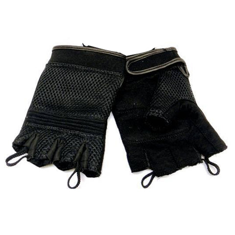 VL451 Mesh Fingerless Gloves with Heavy Duty Gel Suede Palm and Pull Tabs