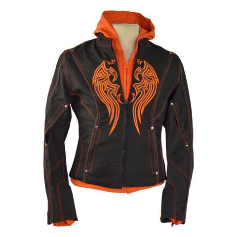 VL1581 Vance Leather Ladies Textile Jacket Embroidery & Removable Hoodie