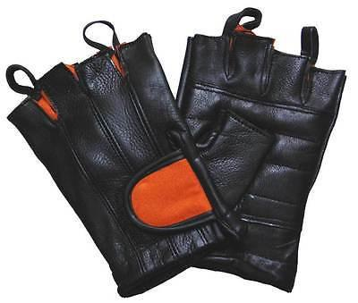 VL430 Vance Leather Black and Orange Padded Palm Fingerless Glove with Pull Tabs